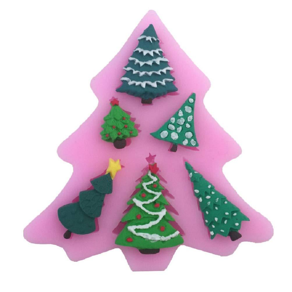 Flybloom Weihnachtsbaum Santa Claus Form Silikon Formen DIY Schokolade Fondant Sugarcraft Plätzchenform Kuchen Dekor Backen Werkzeuge, Stil 1 HeShengFactory