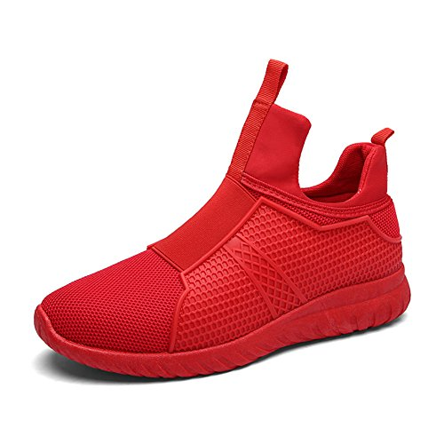 Leader Show Men's High Top Breathable Running Shoes, Fashion Sport Athietic Sneaker (9.5, Red) (Red Flat Boots)