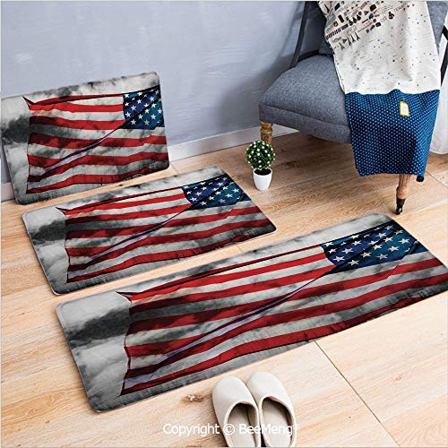 3 Piece Water Uptake Indoor Modern Anti-Skid Cartoon Carpet,American Flag,Banner in The Sky on Cloudy Mist Display National Symbol Proud of Heritage,Grey Red Blue,16x24/16x39/18x45 inch