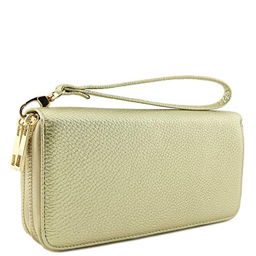 Double Zip Around Wristlet Wallet (Gold) ()