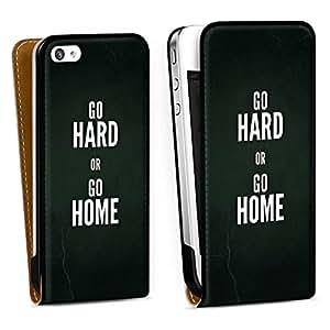 Diseño para Apple iPhone 4 / 4S DesignTasche Downflip white - Go hard or go home