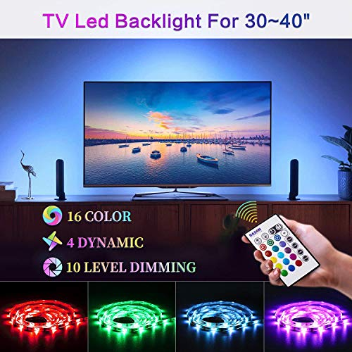 "Bason Led Strip Lights, USB Led TV Backlight for 30-40"" TV, 20 Color Options 6.17ft RGB Led Strip(16 Static Colors&4 Dynamic) Sync Switch On/Off with TV, Dimmable with Remote for Room Decoration."