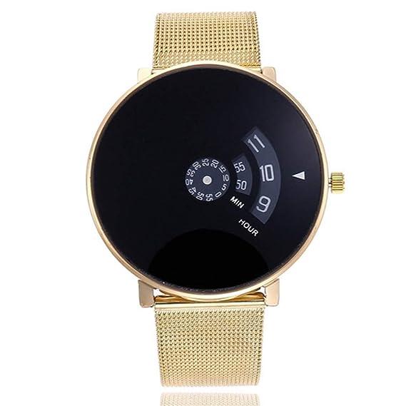 ZXMBIAO Reloj De Pulsera Unisex Malla Creativa De Plata Y Oro Breves Discos Simples Especiales Digitales Especiales Relojes De Pulsera De Cuarzo, ...