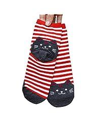 TOOPOOT(TM) 3D Animals Striped Cat Footprints Cotton Women Socks