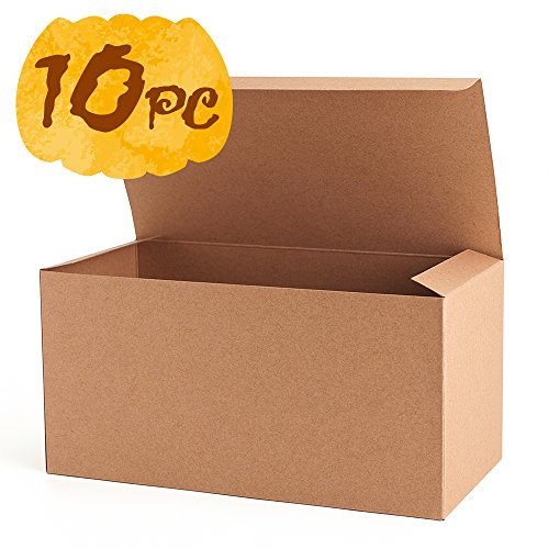 MESHA Recycled Gift Boxes 9x4.5x4.5 Inch Brown Cardboard Boxes 10PCS Kraft Favor Boxes for Party, Wedding, Gift (Paper Gift Boxes)