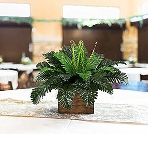 HO2NLE 2PCS Artificial Boston Ferns Shrubs Silk Fake Greenery Plants Home Garden Wedding Patio Outdoor Balcony Hanging Pot Decor 2