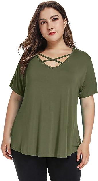 Amoretu Womens Plus Size Tops Short//Long Sleeve Criss Cross V Neck T-Shirt