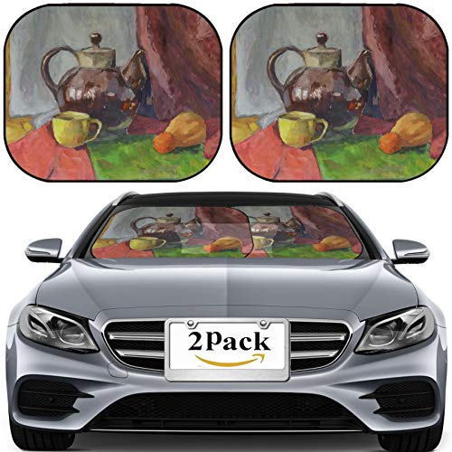 MSD Car Sun Shade for Windshield Universal Fit 2 Pack Sunshade, Block Sun Glare, UV and Heat, Protect Car Interior, Image ID: 21955203 Still Life with Teapot Painting Gouache on Paper ()