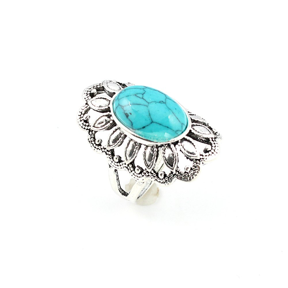Turquoise Fashion Jewelry .925 Silver Plated Ring 12 S22843