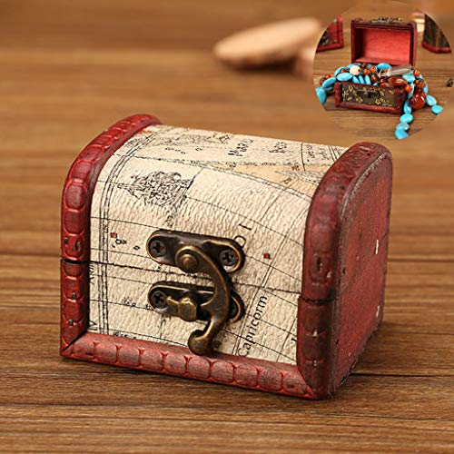 Wffo Cute,Solid and Creative Jewelry Box Vintage Wood Handmade Box with Mini Metal Lock for Storing Jewelry Treasure Pearl (E) (Height Footrest Bar)