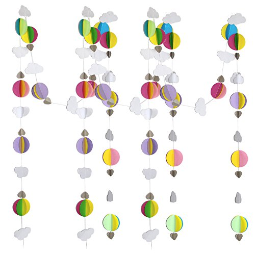 66ft 5 Pack Colorful Paper Garland Circle Dots Hanging Decorations (3D Colorful Paper Garland) (Balloon Small Hot Air)