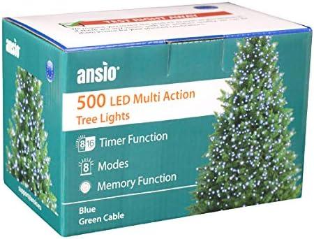 ANSIO Luci natalizie per interni e esterno 500 LED albero luci Blu, 8 modalità con memoria e funzione timer, alimentate, trasformatore incluso 12,5 m Lunghezza illuminata- CAVO VERDE