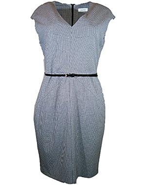Calvin Klein Cap Sleeve Belted Sheath Dress,black/ivory