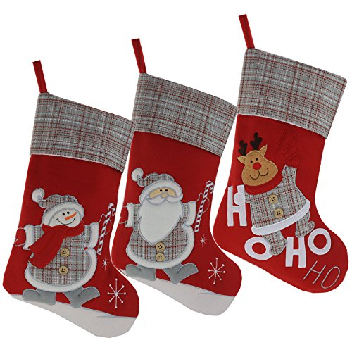 Wewill Lovely Christmas Stockings Set of 3 Santa,Snowman Reindeer Xmas Character 3D Plush Hanging Tag Knit Border 17-Inch - Stocking Santa Xmas