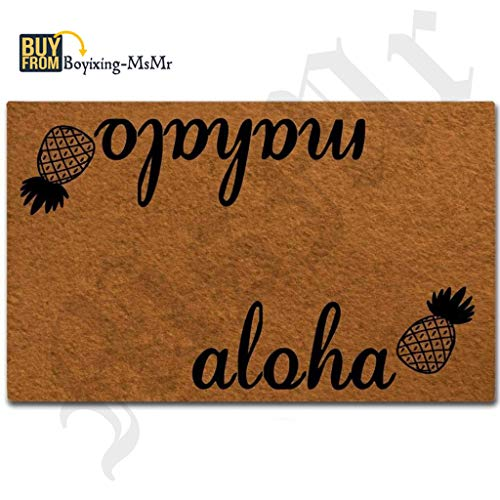 MsMr Doormat Entrance Floor Mat Aloha Mahalo-Pineapple Funny Door Mat Indoor Outdoor Decorative Doormat Non-Woven Fabric Top 23.6