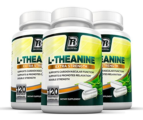 BRI Nutrition 200mg L-Theanine Enhanced with 100 mg of Inositol - 120 Count 200mg L Theanine Veggie Capsules - 3-Pack by BRI Nutrition