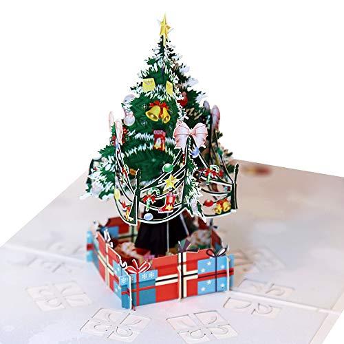 Topdo Tarjeta de Felicitaci/ón 3D Papel con Tarjeta de Navidad 3D Pop up con Papel Sobres Bendicion Greeting Cards para Navidad Fiesta Regalo A/ño 1 Pieza Arbol de Navidad 15 15cm