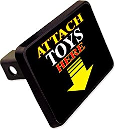 ATTACH TOYS HERE Trailer Hitch Cover Plug Funny ATV Boat Novelty