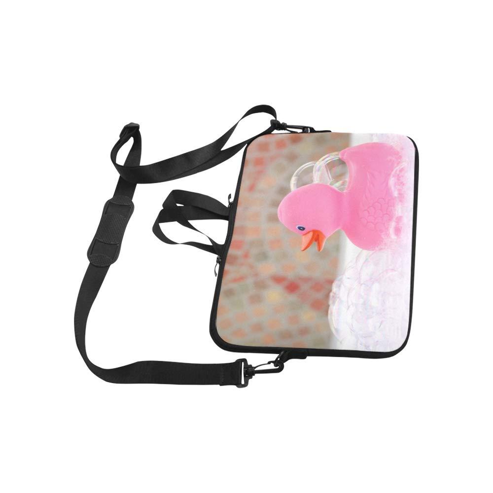 Rubber Duck in A Bubble Bath Foam Pattern Briefcase Laptop Bag Messenger Shoulder Work Bag Crossbody Handbag for Business Travelling
