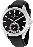 Alpina Horological Smartwatch Mens Fitness Watch - 44mm Black Face Swiss Quartz 2 Year Battery Life Running Watch - Black Leather Band Water Resistant Sleep Monitor Activity Tracker Watch AL-285BS5AQ6