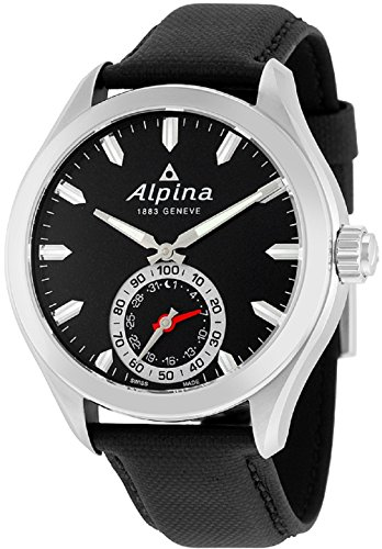 Alpina Horological Smartwatch Mens Fitness Watch - 44mm Black Face Swiss Quartz 2 Year Battery Life Running Watch - Black Leather Band Water Resistant Sleep Monitor Activity Tracker Watch (Swiss Quartz Alarm)