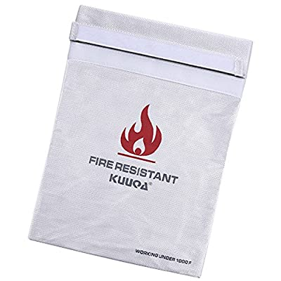 "Kuuqa 15"" X 10.6"" Large Size Fire Resistant Document Bag Fireproof Bag for Cash, Passports, Photos, Valuables and Jewelry Protection"