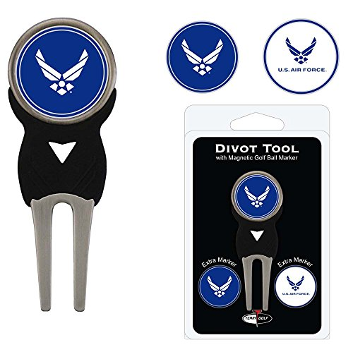 Team Golf Military Air Force Divot Tool with 3 Golf Ball Markers Pack, Markers are Removable Magnetic Double-Sided -