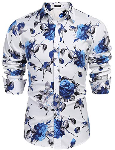 COOFANDY Men's Slim Fit Floral Printed Shirt Short Sleeve Casual Button Down Dress Shirts White