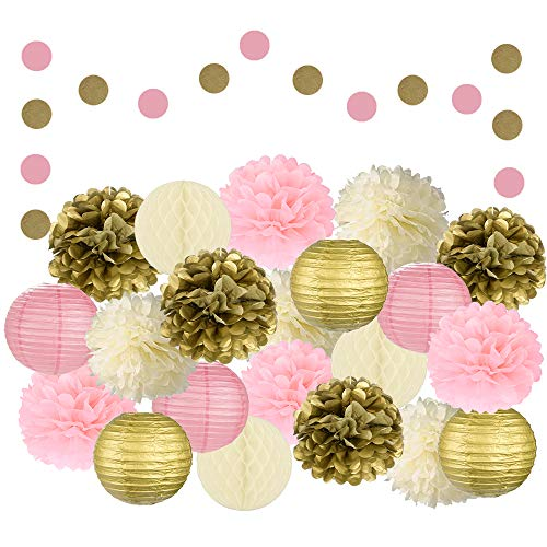 EpiqueOne 22 Pcs Mixed Pink, Gold & Ivory Party Decorations By Epique Occasions-Set Of Hanging Tissue Paper Flower Pom Poms, Lanterns & Honeycomb Balls For Girl Birthday Wedding & Party Décor Supplies