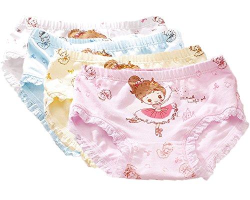 Jeleuon 4 Pcs Little Girls Toddler Kids Princess Crown Print Underwear Boxers Briefs Panties 2-3 Years