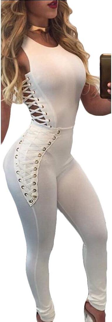 Womens Sleeveless Bandage Romper Fishnet Hollow Jumpsuit