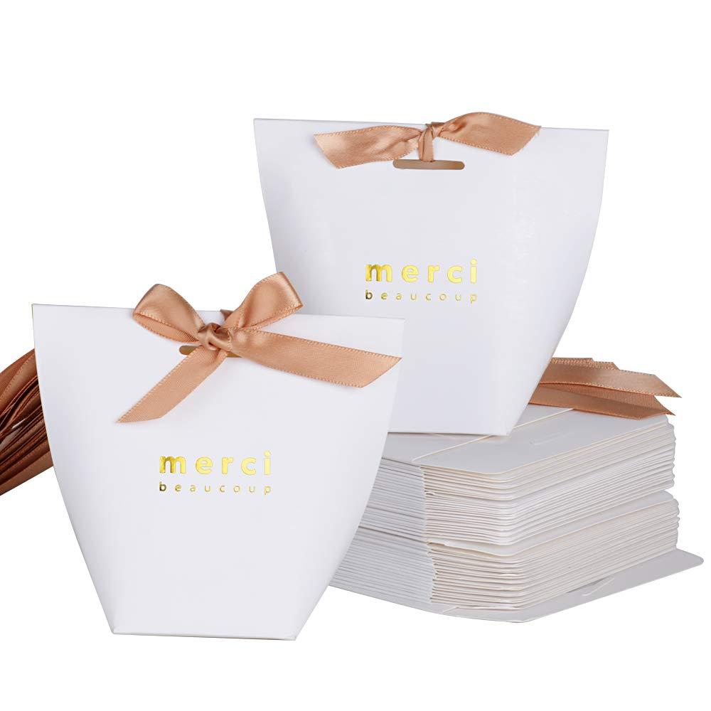SERWOO 50pz Scatole Scatoline Bomboniere Portaconfetti Bianco Merci per Regalo Matrimonio Compleanno Battesimo Festa Natale Laurea 5.7 * 5.7 * 10 cm