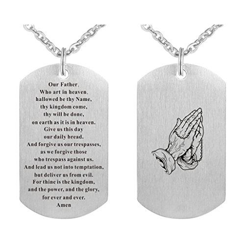 Freedom Love Gift Our Father Who Art in Heaven Bible Verse The Lord's Prayer Pendant Necklace for Men