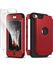 IDWELL iPod Touch 7 Touch 6 Touch 5 Case with 2 Screen Protector, [Three Layer Series] Heavy Duty Protection Shockproof High Impact Protective Anti Slip Anti-Scratch Cover, Red+Black