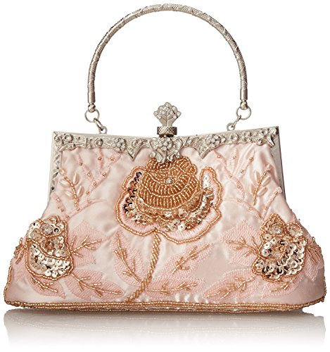 Evening Exquisite Champagne Handbag Party Beaded Women's Antique Clutch ILISHOP Seed Rose ZCTfq