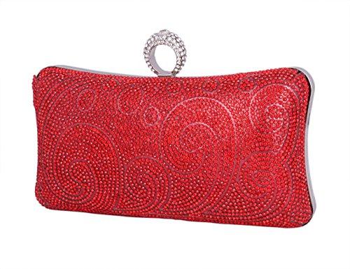 Day Of Saturn Bolso Clutch De Estilo Sencillo Para Mujer Fiesta Boda,Plateado Rojo