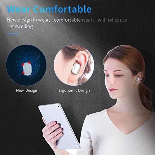 Mini Bluetooth Earbud with Charge Box (70H Talking Time), Sweatproof True Wireless Earphone with CVC 6.0 Noise Cancelling Mic,Stereo Bluetooth Invisible Earphone with Built-in Mic (1 PCS, White)