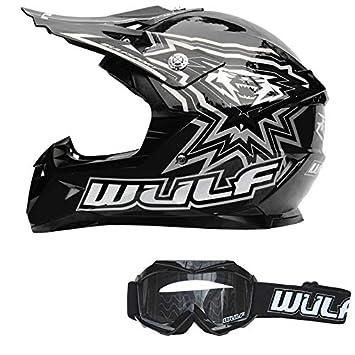 Wulfsport Kids Flite Motocross Motorbike Helmet off Road 53-54cm Wulf Cub Abstract Goggles Orange XL