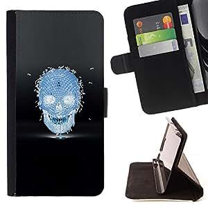 Momo Phone Case / Flip Funda de Cuero Case Cover - Las abejas de miel Cráneo Negro Azul de la Muerte - Samsung Galaxy Note 4 IV