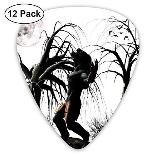 Anticso Custom Guitar Picks, Cool Halloween Full Moon Tree Werewolf Guitar Pick,Jewelry Gift For Guitar Lover,12 Pack