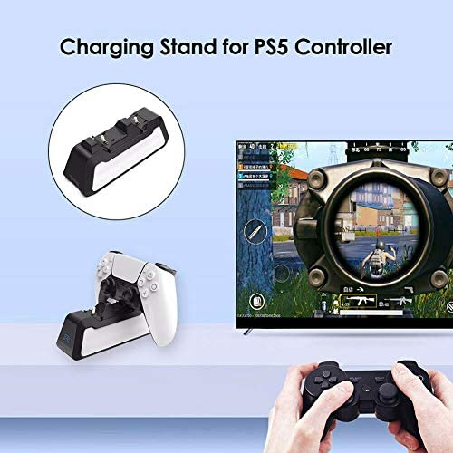 PS5 Controller Charger, PS5 Wireless Charger Fast Charging Station Compatible with Sony Playstation 5 Controller, Charging Dock Station with LED Indicator