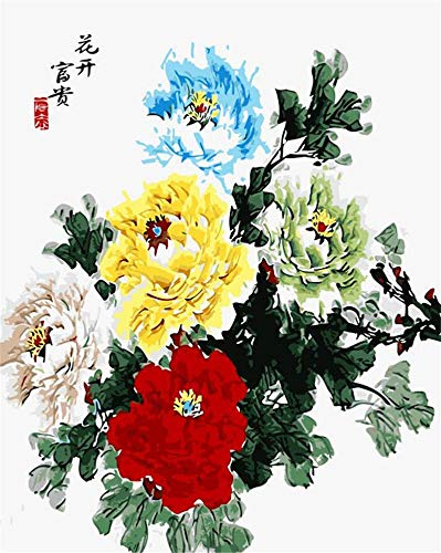 aoyuff China Peony Flower Oil Painting Pictures Coloring by Numbers Digital Pictures Purple Flower by Hand Unique Gift Home Decoration