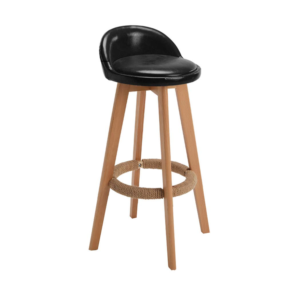 Black 68cm CYLQ Wooden redating Bar Stool, Counter Height Swivel Bar Chair, Low Back Oil Wax Leather Seat, Modern Kitchen Breakfast Bench, 5 colors, 3 Sizes (color   Beige, Size   63cm)