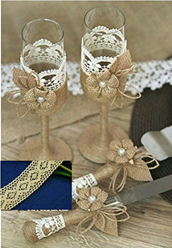 Rustic Wedding Vintage Rhinestone Handcrafted Burlap Twine Knife and Cake Server Champagne Toasting Glasses Set (Ivory).