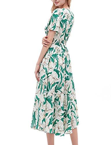 Maniche Partito Green Vestito Donna Gardenwed Elegante Bohemian Scollo V Estivo Spiaggia Con Stampa Corte Da Flower Abiti Maxi Floreale kZiXPOTu