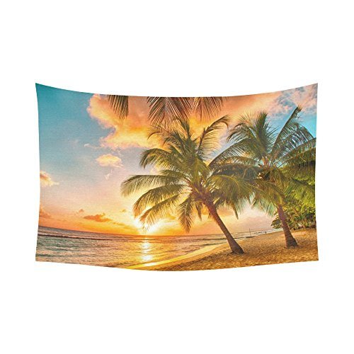 Interestprint Coconut Palm Tree Ocean Sea Paradise Hawaii Beach Sunset Scenic Tapestry Wall Hanging Tropical Wall Decor Art for Living Room Bedroom Dorm Cotton Linen Decoration 90 X 60 Inches