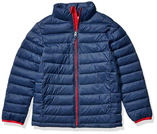 Amazon Essentials Boy's Lightweight Water-Resistant Packable Puffer Jacket, Navy with Red, Medium (Best Packable Puffer Jacket)
