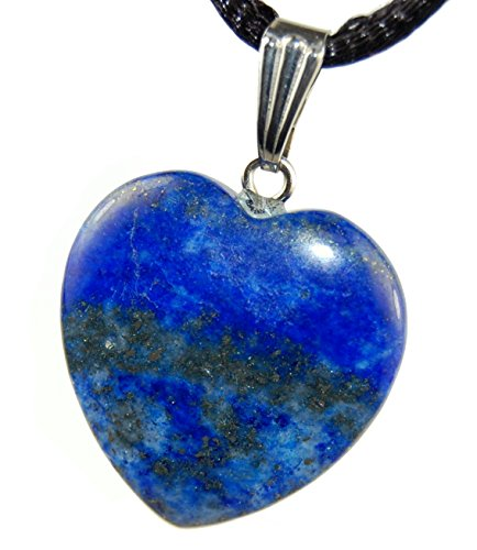 Lapis Lazuli Heart : Healthy & Continuity Charm Pendant, Natural Crystal Gemstone (Gemstone Heart Necklace)