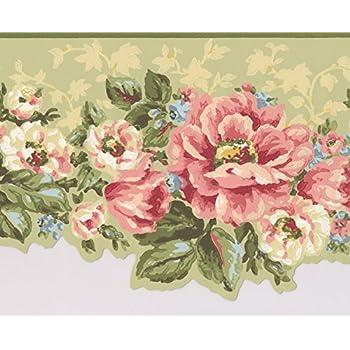 Pink white flowers sage green floral wallpaper border retro design pink white flowers sage green floral wallpaper border retro design roll 15 x 7 mightylinksfo