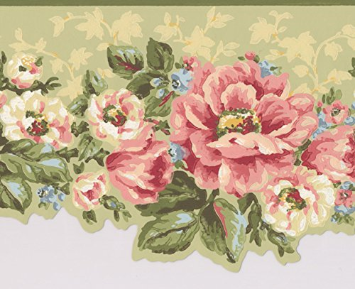 Pink White Flowers Sage Green Floral Wallpaper Border Retro Design, Roll 15' x 7''